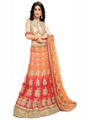 Orange embroidered art silk semi stitched lehenga