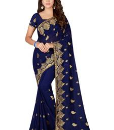 Buy Navy blue embroidered faux georgette saree with blouse designer-embroidered-saree online