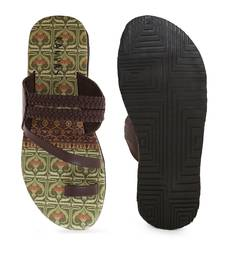 KANVAS Men's  Green & Brown TPR Sole Material Printed Slip on Chappals