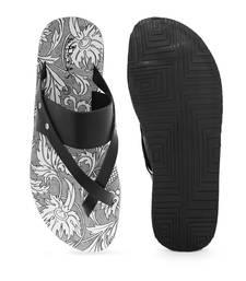 KANVAS Men's  White & Black TPR Sole Material Printed Slip on Chappals