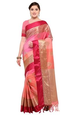Multicolor woven katan silk banarasi saree with Blouse