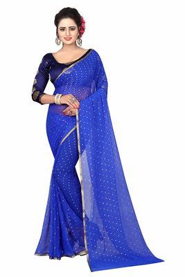 Blue plain nazneen saree with blouse