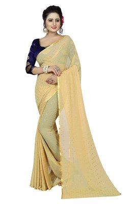 Cream plain nazneen saree with blouse