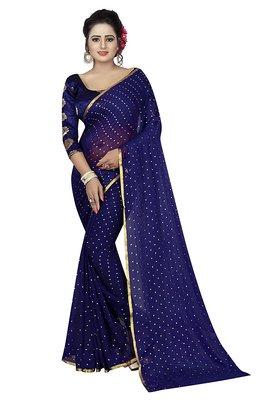 Navy blue plain nazneen saree with blouse