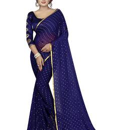Navy blue plain nazneen saree with blouse