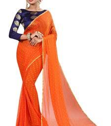 Orange plain nazneen saree with blouse