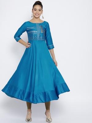 Turquoise Satin None long kurtis