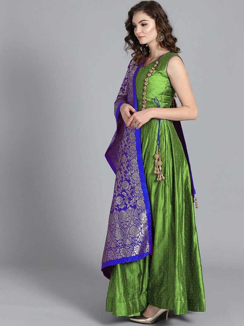 Buy Chhabra 555 Green Embroidered Art Silk Kurtis Online Kemeja Lavender Multicolor Shop At Velvet