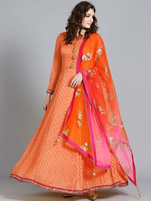 Chhabra 555 Peach embroidered georgette embroidered kurtis