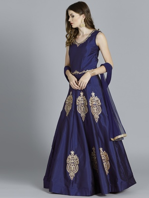 Blue embroidered art silk gowns