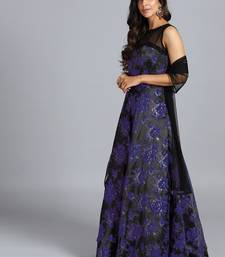 Black embroidered art silk gowns