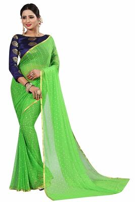 Parrot green plain nazneen saree with blouse