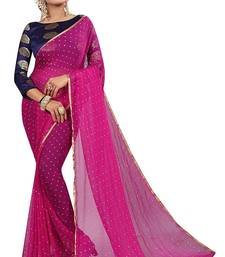 Rani pink plain nazneen saree with blouse