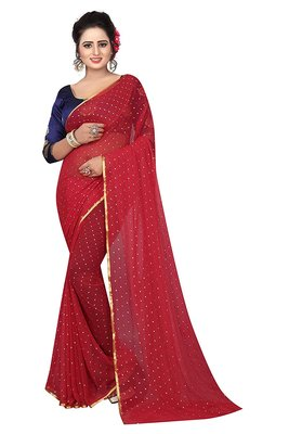 Red plain nazneen saree with blouse