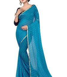 Buy Sky blue plain nazneen saree with blouse nazneen-saree online
