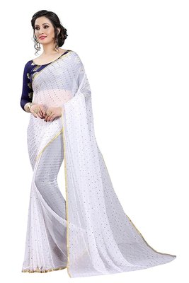 White plain nazneen saree with blouse