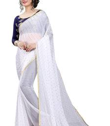 Buy White plain nazneen saree with blouse nazneen-saree online