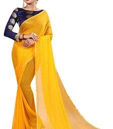 Yellow plain nazneen saree with blouse