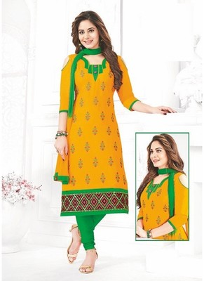 Yellow Thread Embroidery Cotton Unstitched Salwar With Dupatta