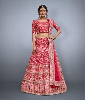 Pink embroidered art silk semi stitched lehenga with dupatta