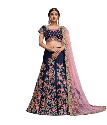Navy-blue embroidered velvet semi stitched lehenga with dupatta