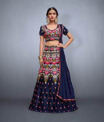 Navy Blue Zari And Resham Embroidered Velvet Silk Lehenga Choli For Navratri Special