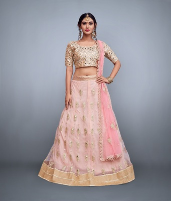 Baby Pink Sequins And Dori Embroidered Net Semi Stitched Lehenga With Dupatta