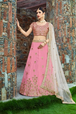 Baby Pink Pearl Golden Embroidered Art Silk Semi Stitched Lehenga With Dupatta