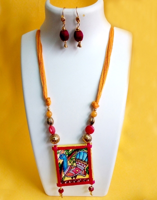 Peacock Madhubani Handpainted Necklace Set