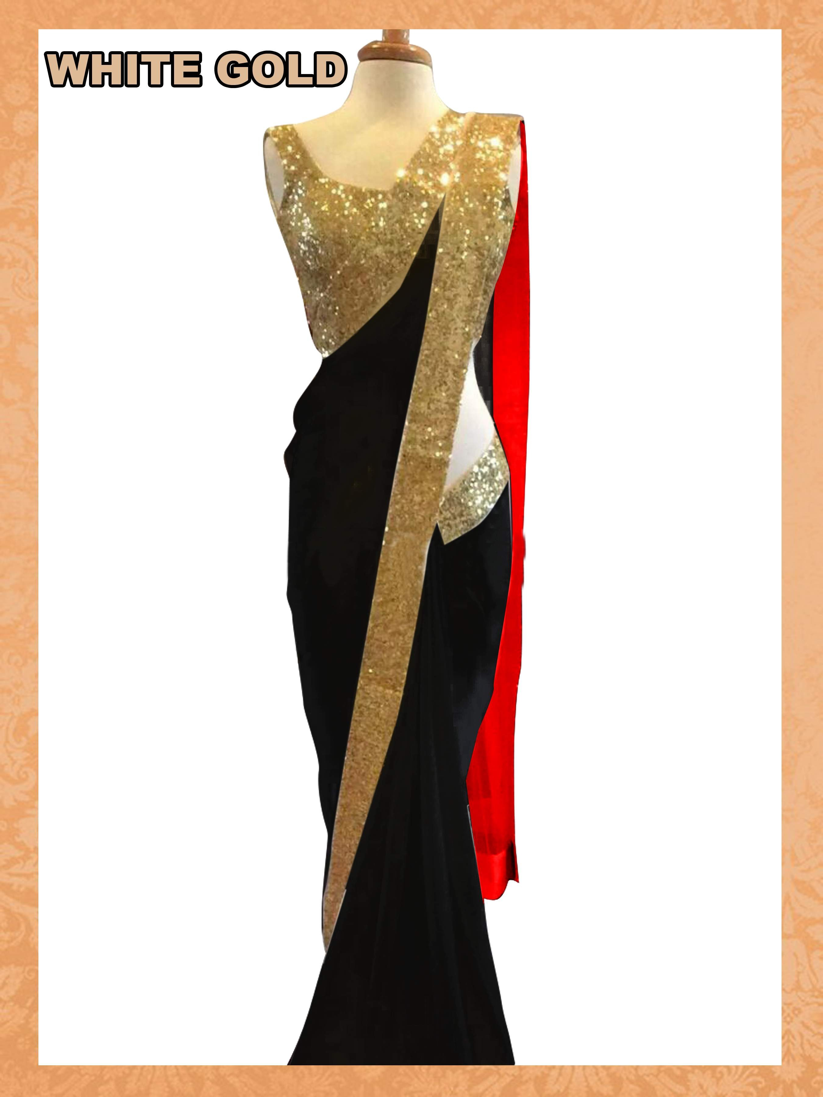 4f71c125a65c7 BLACK plain georgette saree with blouse - KRISHNA FASHION - 370258