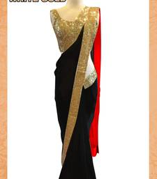 Buy BLACK plain georgette saree with blouse party-wear-saree online