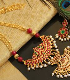 Buy Beautiful Handmade Kemp Green Temple Pendant Long Haar Necklace Set  necklace-set online