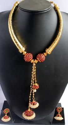 Beautiful Kemp Jhumka Pendant Temple Necklace Set