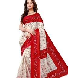 Buy White printed art silk saree art-silk-saree online