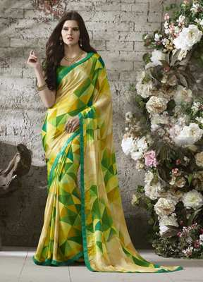 Beige printed chiffon saree