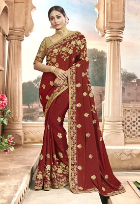 Maroon embroidered chanderi silk saree