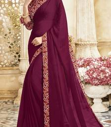 Buy Wine embroidered chiffon saree chiffon-saree online