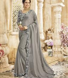 Buy Grey embroidered chiffon saree chiffon-saree online