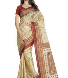 Buy Beige printed art silk saree art-silk-saree online