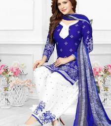 Buy Blue Printed Crepe Unstitched Salwar With Dupatta multicolor-salwar-kameez online