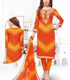 Buy Orange Printed Crepe Unstitched Salwar With Dupatta multicolor-salwar-kameez online