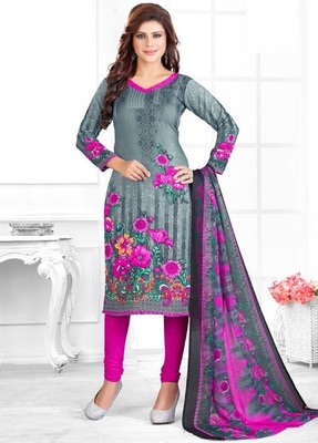 Multicolor Printed Crepe Unstitched Salwar With Dupatta
