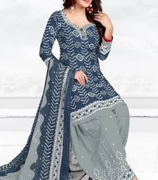 Buy Grey Printed Crepe Unstitched Salwar With Dupatta multicolor-salwar-kameez online