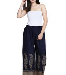 Buy Navy Blue Color Gold Print Plazo palazzo-pant online