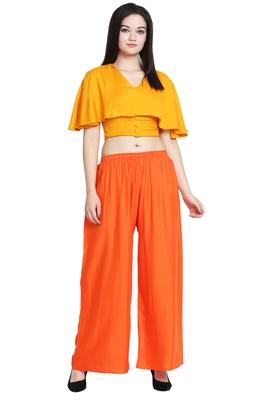 Orange Color Plain Sarara Plazo
