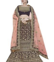 Buy Chhabra 555 Burgundy Velvet Heavy Zari Embroidery Semi Stitched Lehenga Choli with Pink Dupatta lehenga-choli online