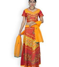 Buy Yellow And Orange Cotton Jaipuri Readymade Lehenga readymade-lehenga-cholis online