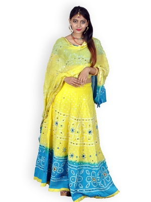 Yellow And Firozi Cotton Jaipuri Readymade Lehenga