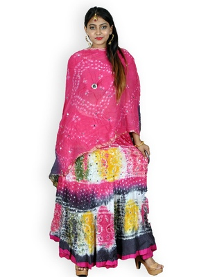 Pink And Multicolored Cotton Jaipuri Readymade Lehenga