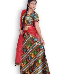 Buy Red And Green Cotton Jaipuri Readymade Lehenga readymade-lehenga-cholis online